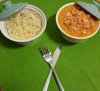 Momentos com a Bimby: Estufado de pescada com camarão e arroz fingido - Receita Low Carb