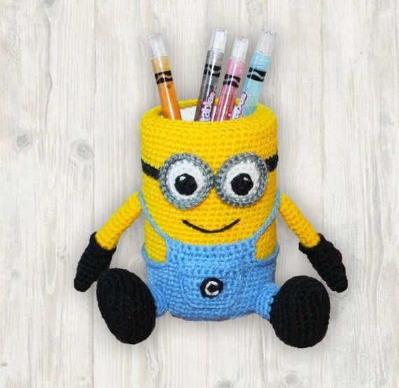 Minion Crochet Pattern, Minion Pencil Holder Crochet Pattern, Minion Pen Stand Crochet Pattern #minioncrochetpatterns Minion Crochet Pattern, Minion Pencil Holder Crochet Pattern, Minion Pen Stand Crochet Pattern  ***The pattern available in English language only*** Please note: This listing is for Crochet PATTERN and NOT FOR A FINISHED ITEM  This listing is for crochet pattern to help you create your very own #minionpattern Minion Crochet Pattern, Minion Pencil Holder Crochet Pattern, Minion Pe #minioncrochetpatterns