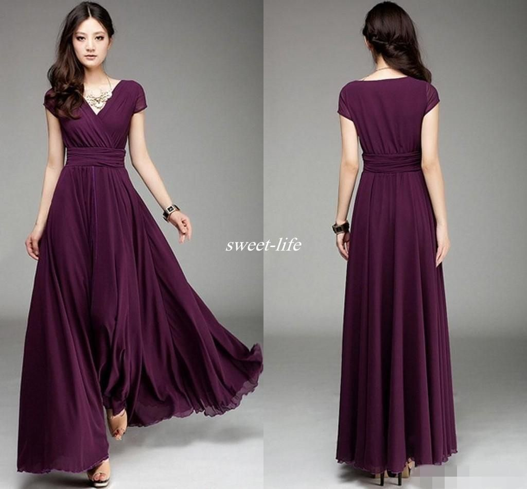 293cfa02389 Plum V Neck Short Sleeve Long Chiffon Bridesmaid Dresses Ruffle Elegant A  Line Prom Dresses 2016 Floor Length Burgundy Wedding Party Dress Online  with ...
