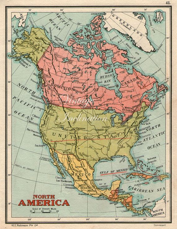 Vintage North America USA map 1930s United by VintageInclination