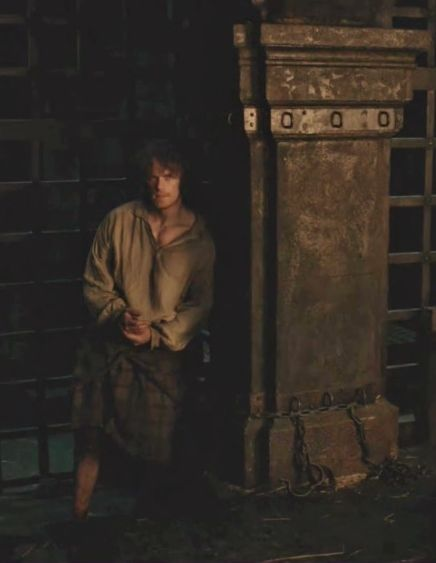 "Jamie Fraser (Sam Heughan) in ""Wentworth Prison"" of Outlander of Starz via http://outlander-online.com/2015/05/21/1390-uhq-1080p-screencaps-of-episode-1x15-of-outlander-wentworth-prison/"