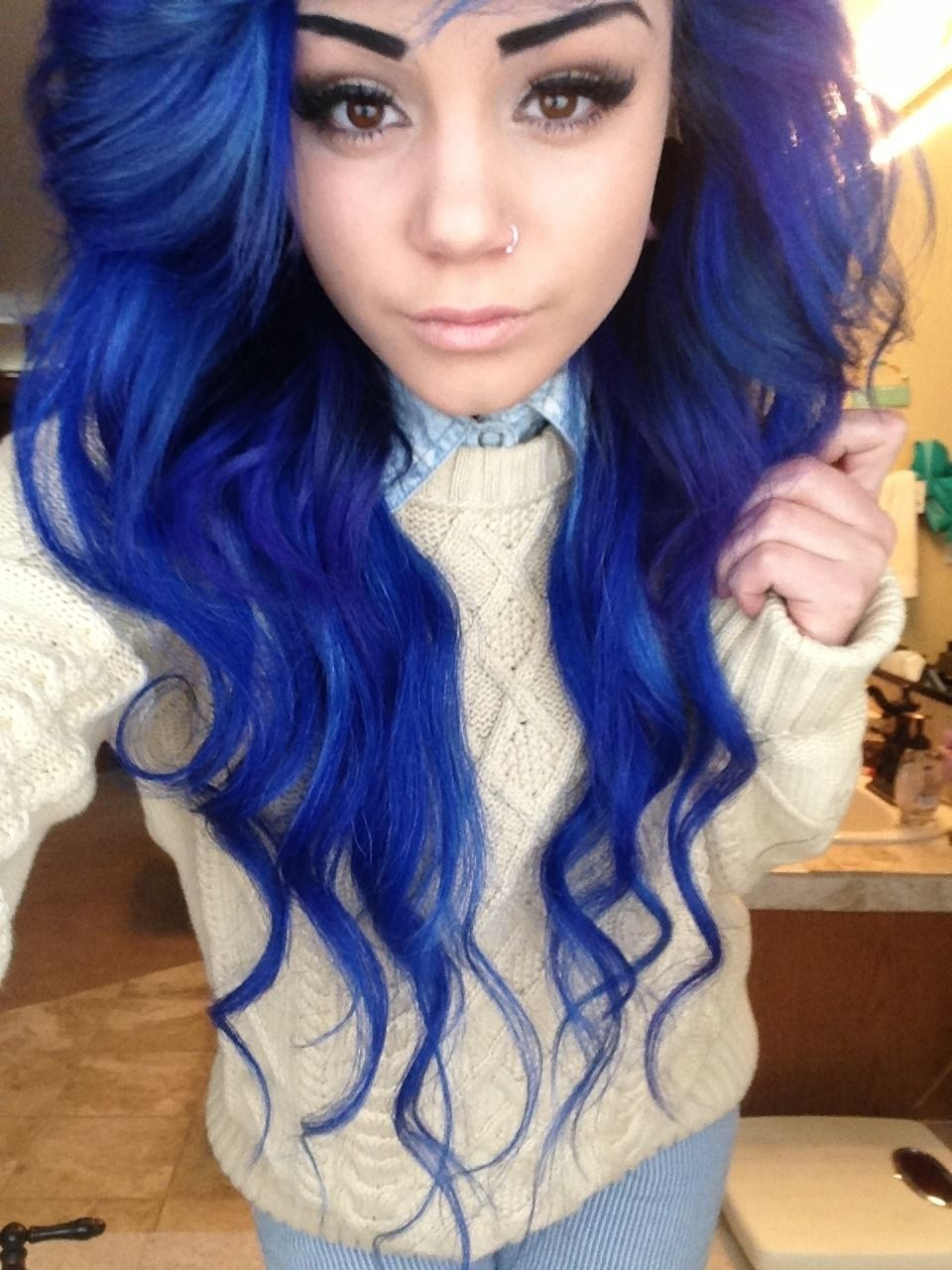 Blue dyed hairhella wanted to do this instead of ombre but kinda