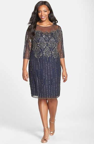 Pisarro Nights Illusion Yoke Embellished Shift Dress (Plus Size ...