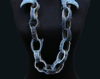 Jeans collar / collar Denim / reciclado collar por DadaAtelier
