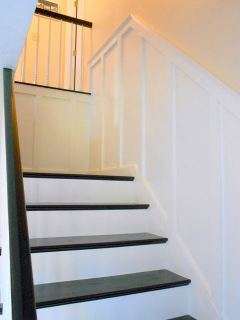 Basement Stair Trim: Crown Molding & Wainscoting