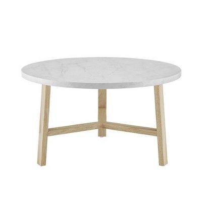 30 Round Coffee Table White Marblelight Oak Saracina Home White
