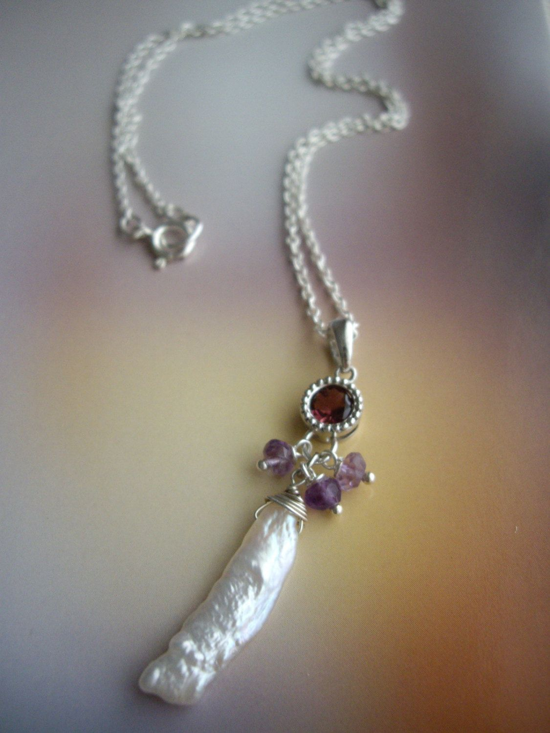 Bezel stone setting necklace,pink tourmaline necklace,stick pearl necklace,amethyst,dangle,sterling silver chain necklace - pinned by pin4etsy.com