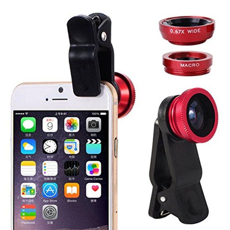 77f0a3ba689 3 in 1 Wide Angle Macro Fisheye Lens Universal Camera Mobile Phone Lenses Fish  Eye Lentes For iPhone 6 7 Smartphone Microscope