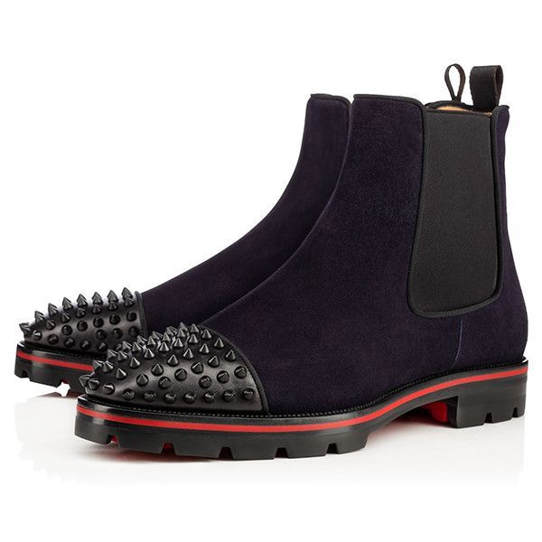 33b52b18eb4a Spiked Suede Navy Boots by Christian Louboutin