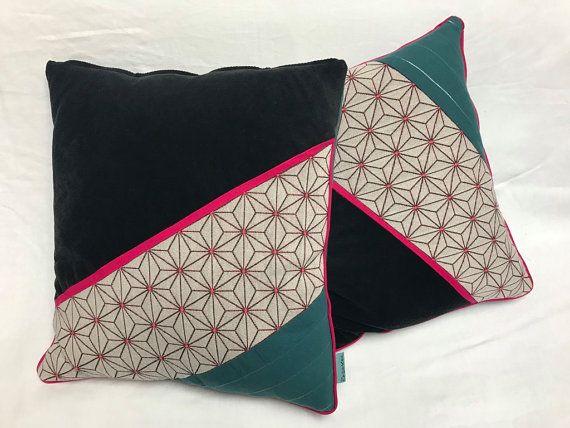 Housse de coussin patchwork en velours noir, motif géometrique rose ...