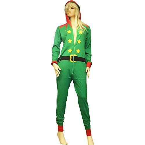 Unisexe Adultes Hommes Femme Red Santa Vert Elfe Pyjama Combinaison