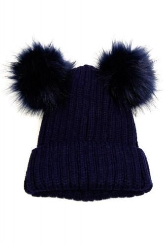 Navy Personalised Double Faux Raccoon Fur Pom Pom Knitted Winter Baby Hat