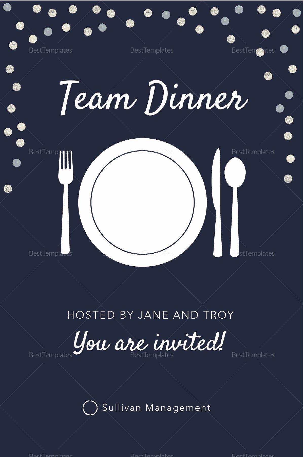Dinner Invitation Template Word Unique Elegant Team Dinner