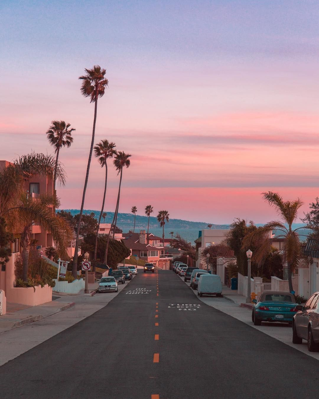 Pink Sky And Palm Trees All Over Los Angeles, California