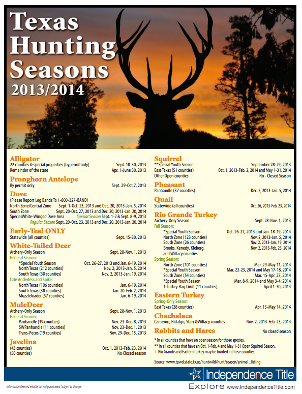 what are the hunting seasons in texas