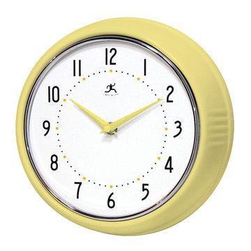 Retro Clock Yellow, $29, now featured on Fab Infinity Instruments - wanduhr für küche