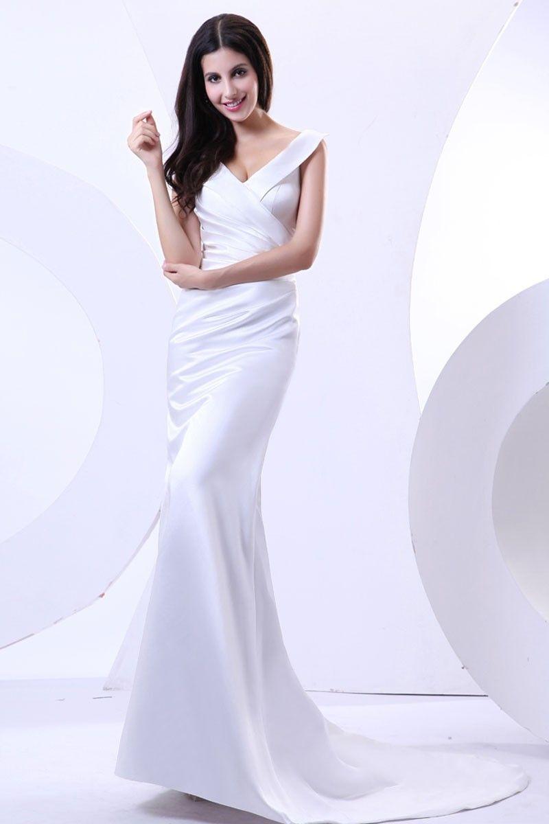White Floor-Length V-Neck Satin Sheath/Column Dress With ...