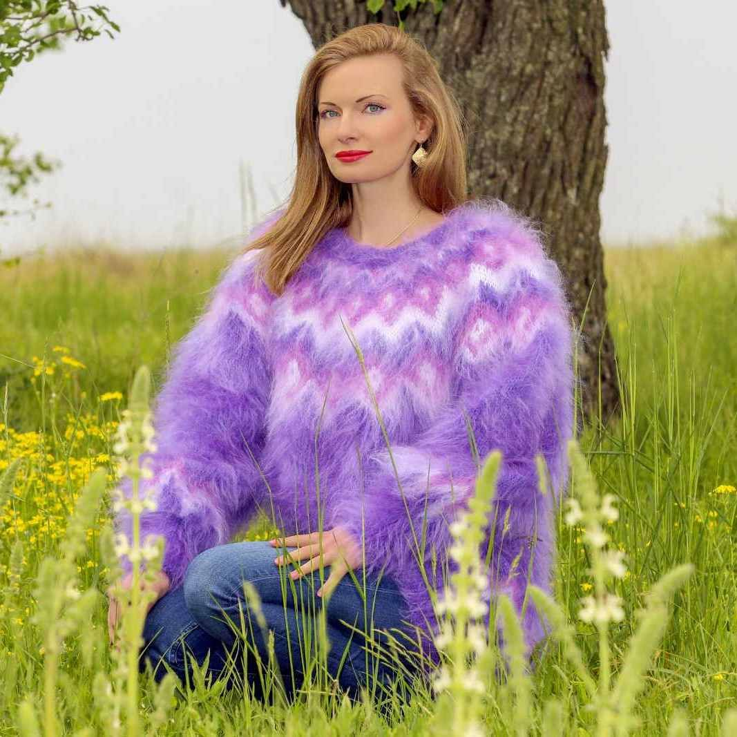 Purple made to order ski mohair sweater with Icelandic pattern, size S, M, L, XL