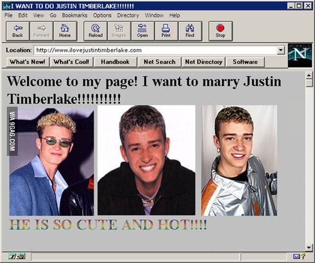Justin Timberlake fans site in the early years of internet