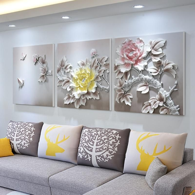 Three Dimensional Relief Wall Hanging Painting Luxury Decoration Luxury Decor Hanging Paintings Three Canvas Painting Canvas for living room uk