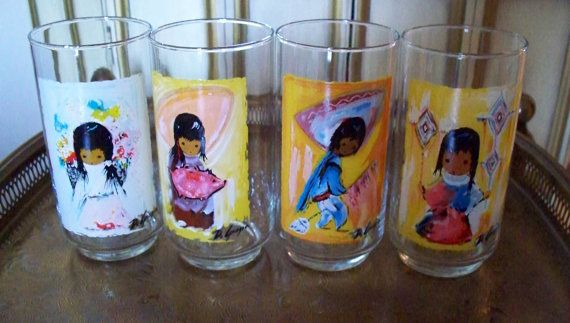Vintage Ted DeGrazia Art Glasses Tumbler Indian Children of the Southwest