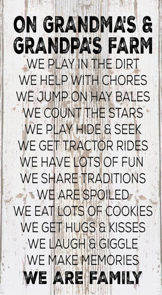 Christmad Gift - On Grandma & Grandpa's Farm Rules Wood Sign, Canvas Wall Art, Banner - Christmas, Birthday, Grandparent's Day #grandpabirthdaygifts