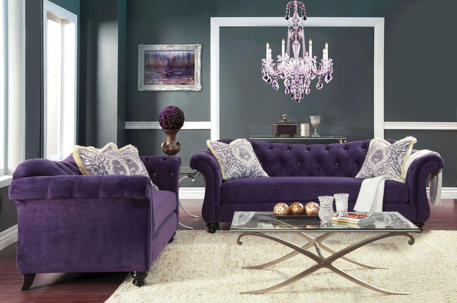 Maliah Plush Velvet Tufted Light Purple Living Room Set Living Room Sets Furniture Purple Living Room Sofa And Loveseat Set #velvet #tufted #living #room #set