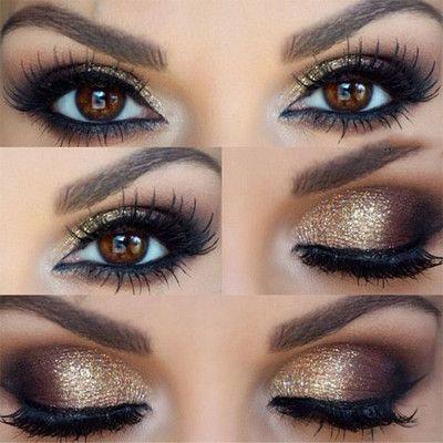maquillaje ojos dorados de noche Limpi Pinterest Makeup