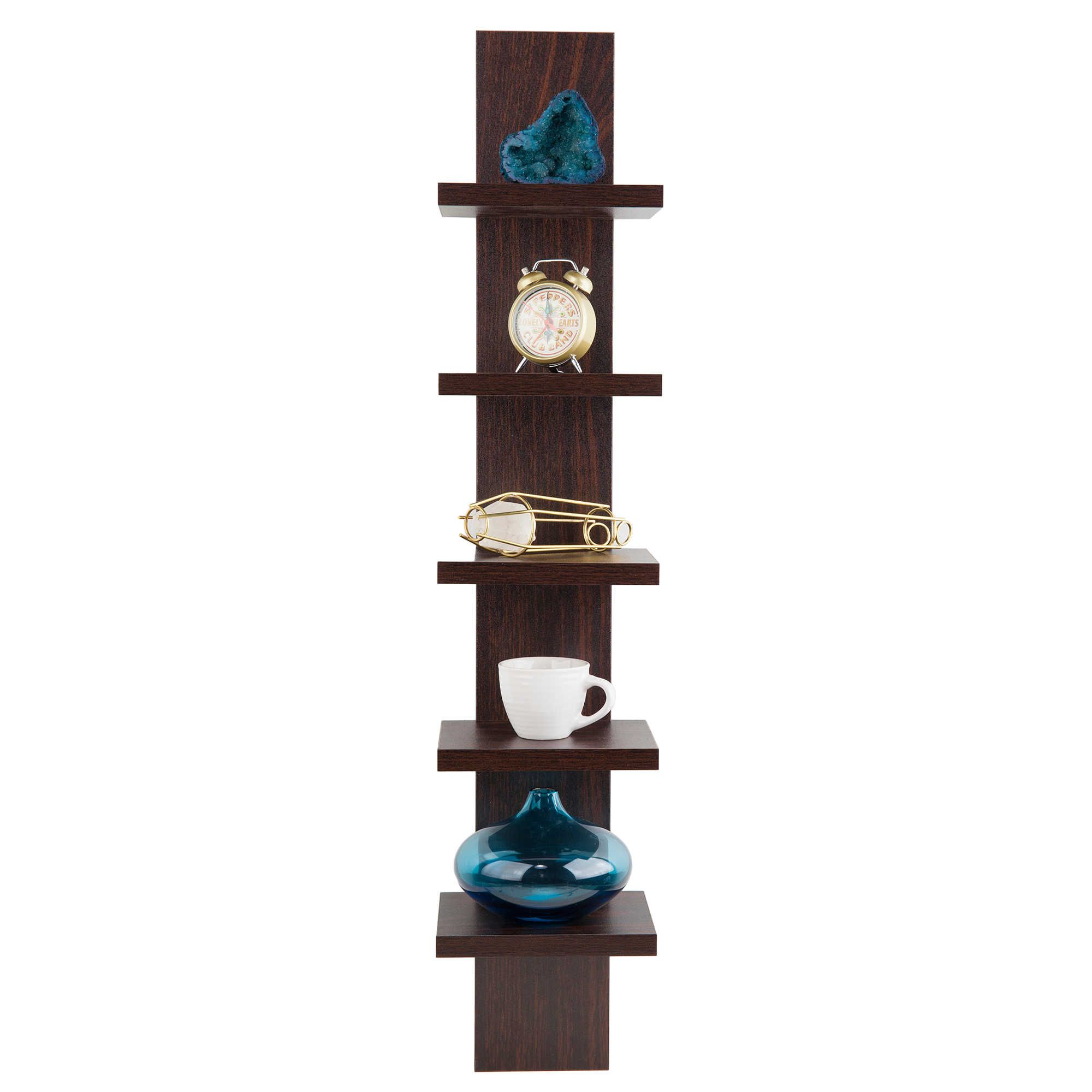 Danya B 5 Tier Spine Wall Shelves In Walnut
