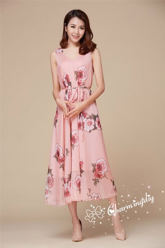 60 Colors Chiffon Pink Rose Flower Double Side Tea Length Party ...