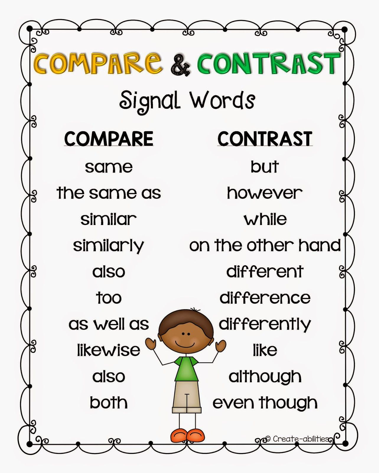 Free Game Printable Compare And Contrast By Create Abilities