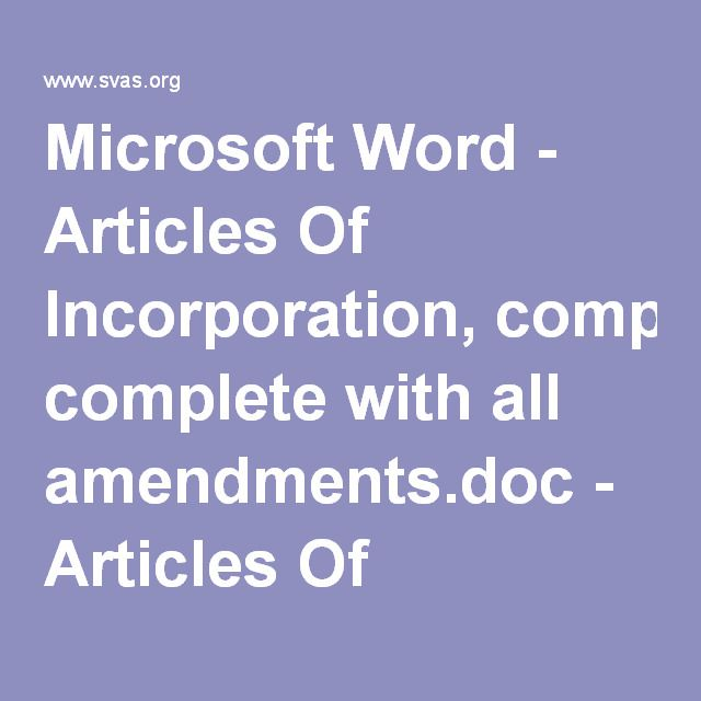 Microsoft Word   Articles Of Incorporation, Complete With All   Microsoft  Articles Of Incorporation  Microsoft Articles Of Incorporation