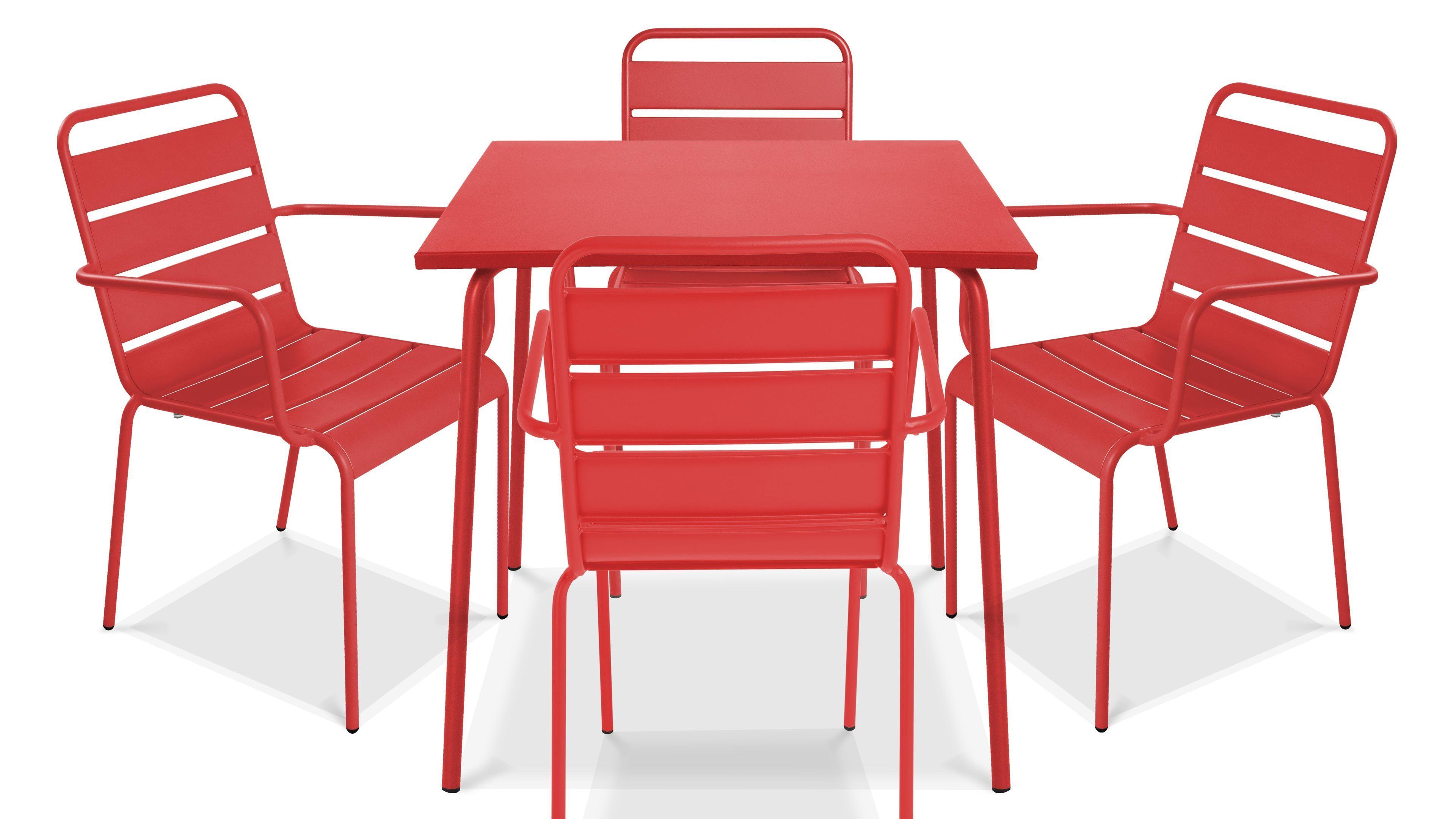 Table de jardin carrée et 4 fauteuils empilables en acier ...