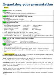 English Worksheet Oral Presentation  Education