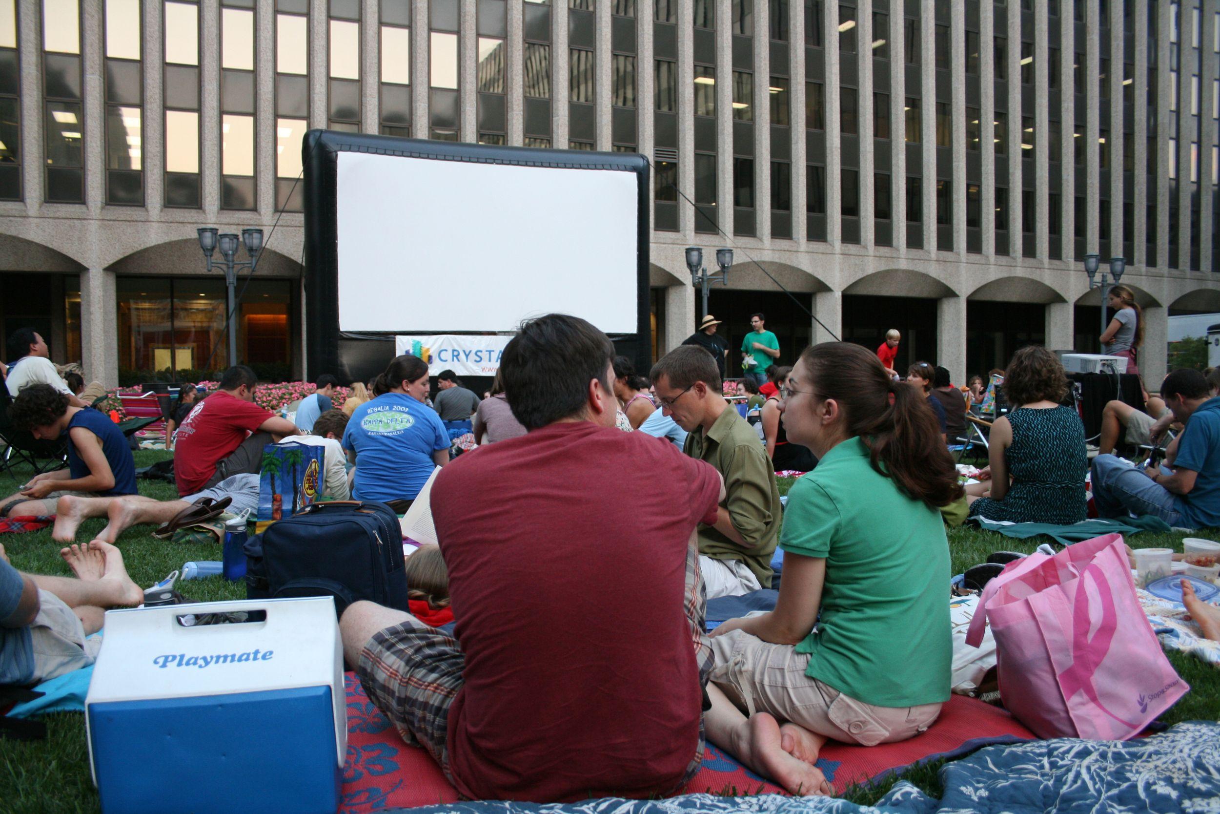 Crystal City outdoor movie screening, Arlington, Va. (With