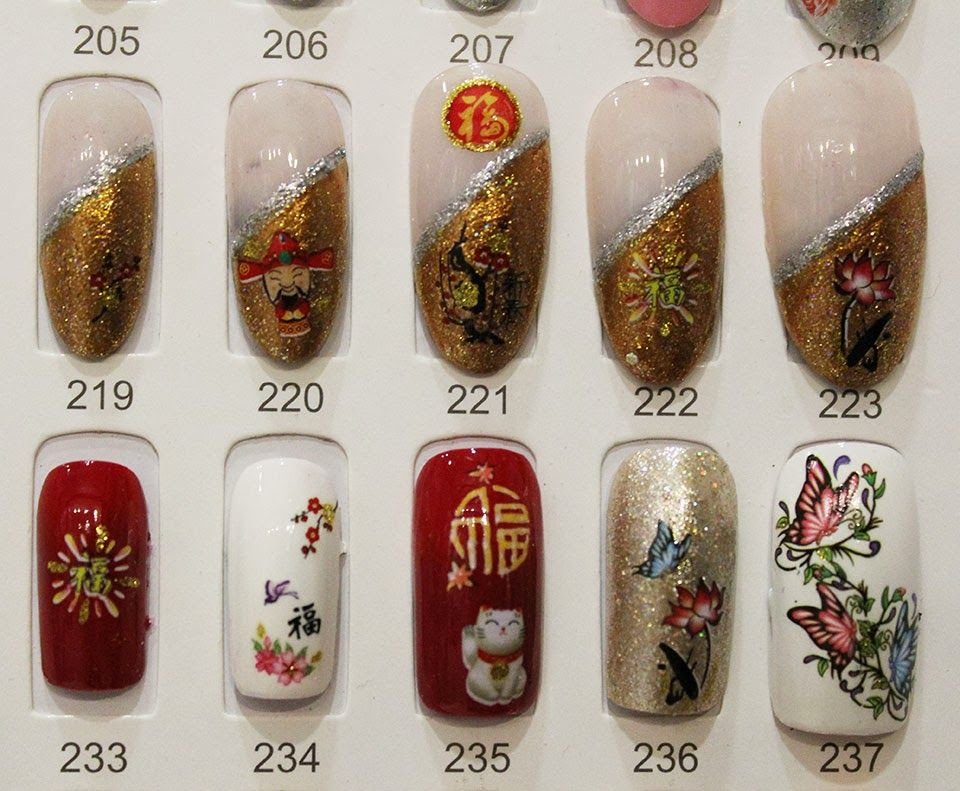 Designed CNY nail samples are for the customers to choose any one of ...
