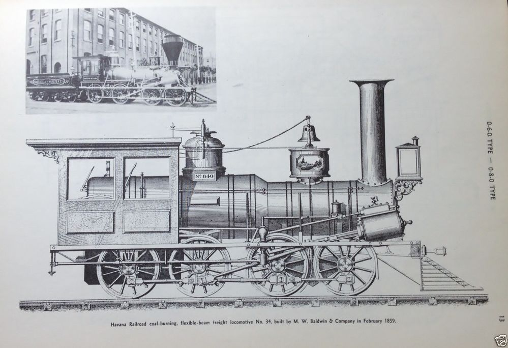 Steam Locomotive Diagram HAVANA RR COAL BURNING FREIGHT No 34