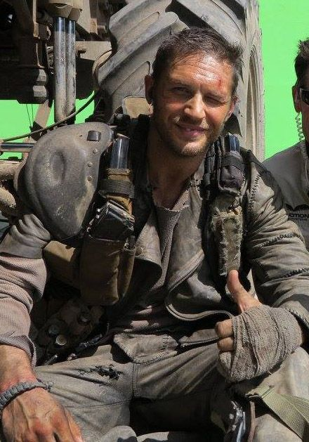 Tom Hardy on the set of Mad Max Fury Road