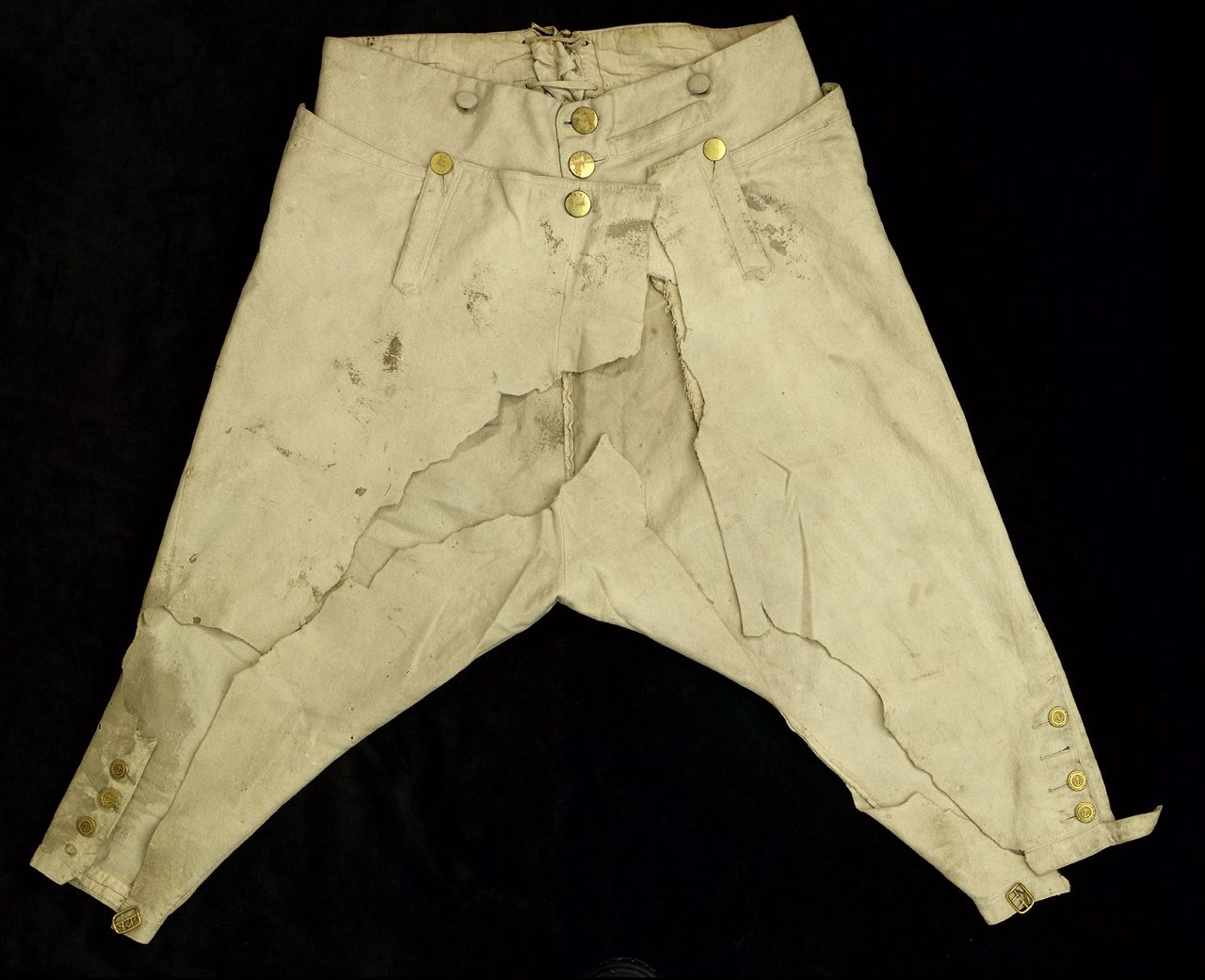 Lord Nelson's fall-front breeches from Trafalgar. When he was mortally wounded, they had to be cut off of him.
