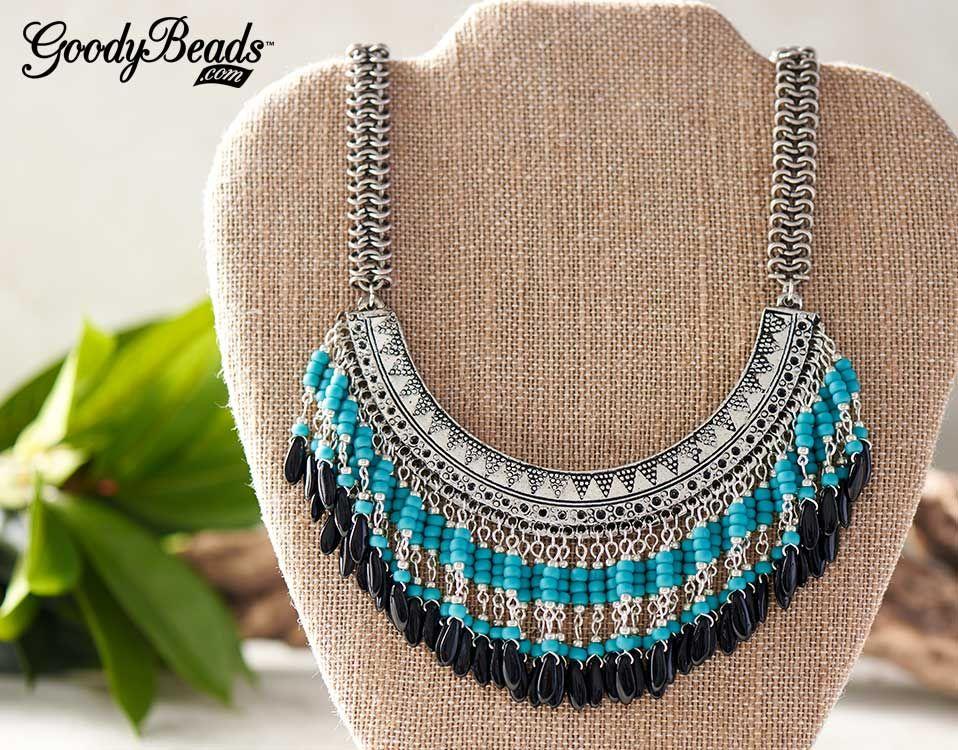 GoodyBeads Blog DIY Boho Bib Necklaces Turquoise Isle bib