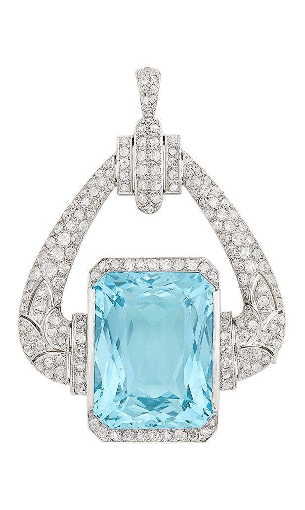 Cartier An Art Deco Platinum Aquamarine And Diamond Pendant Clip Brooch London Circa 1930 Signed Jewelry Pinterest