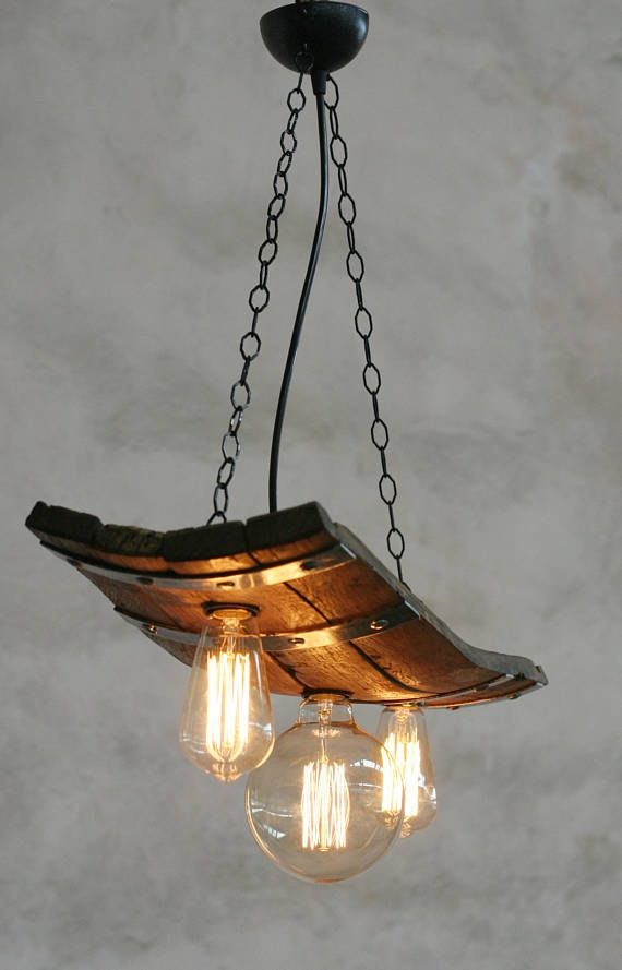 Rustic ceiling lights. Wine barrel with 3 lights Rustic