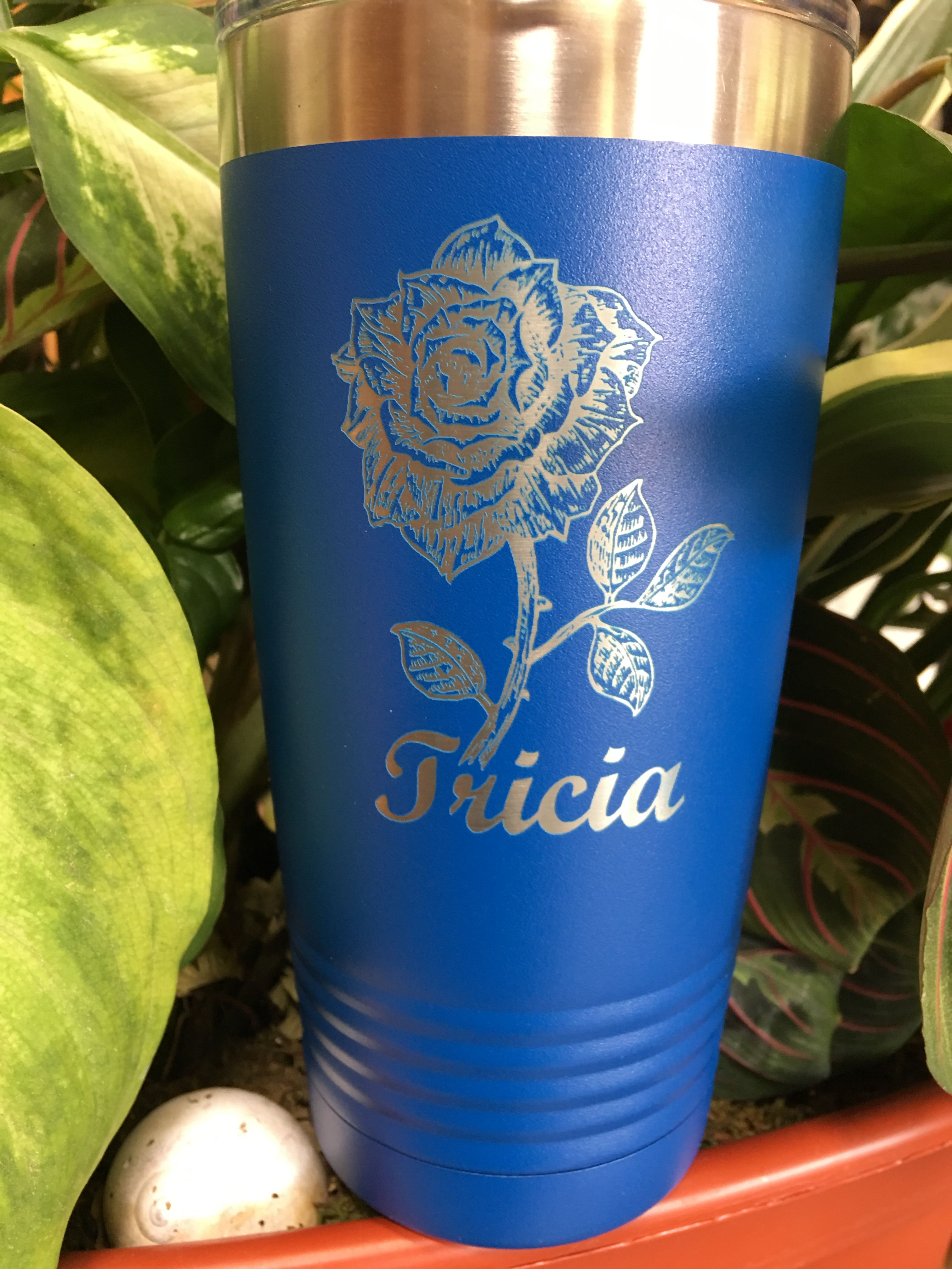 Engraved 20 Oz Personalized Rose Tumbler Engraved Tumblers Laser Engraving Engraving Services