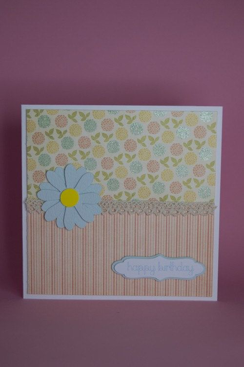 Handmade Pretty Floral And Stripes Card With Blue Flower Pretty