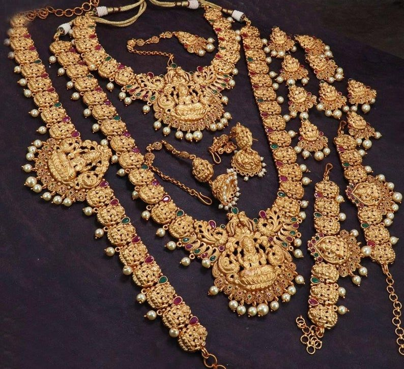 Matte Gold Bridal Jewelry Set Necklace South Indian Bridal Jewellery Bridal Necklace Set Bridal Gold Jewellery