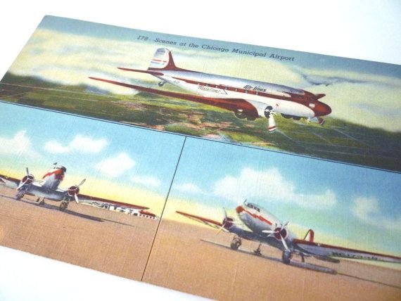 1942 Mainliner Airlines Chicago Municipal Airport Linen Postcard Curt Teich & Co on Etsy, $10.00