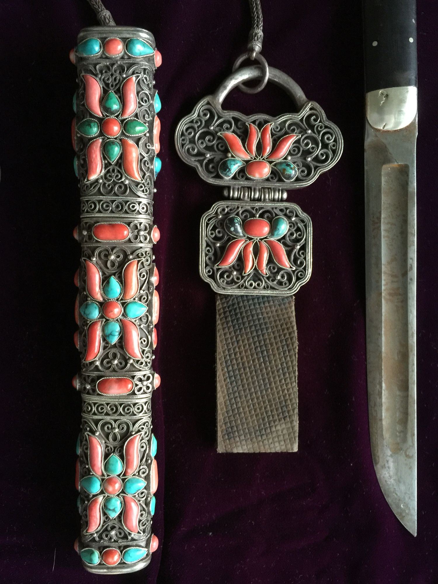19th c Mongolian knife set. Silver, steel, coral, turquoise, leather, wood