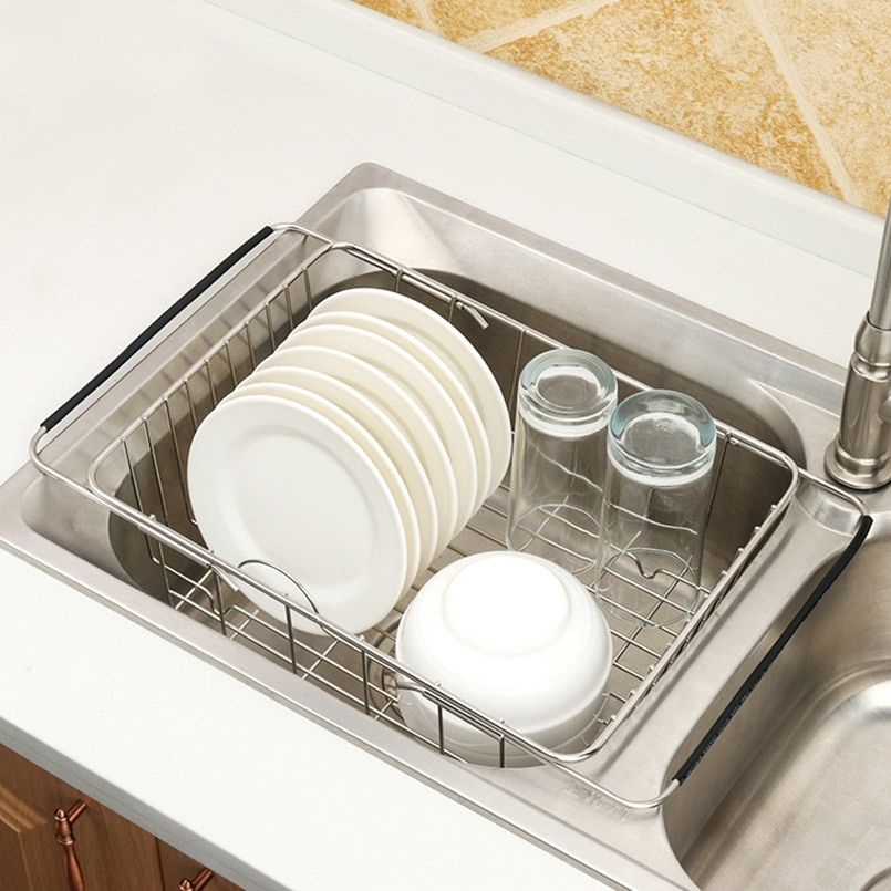 Over The Sink Dish Drying Rack Rustproof Stainless Steel Kitchen Dish Drainer
