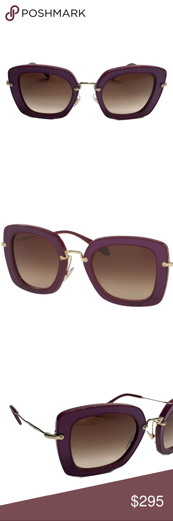eeb2fe939e8 -Gold Metal and Purple Plastic Frame. -Brown Lenses. -Includes authenticity  cards and Miu Miu Box. -Made in Italy. Miu Miu Accessories