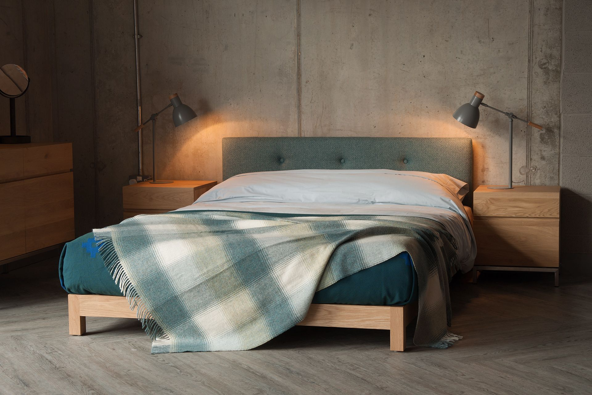 Iona Low Bed with Buttoned Headboard Low bed